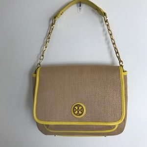 Tory Burch Yellow Leather & Straw Shoulder Bag